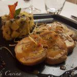 Coniglio farcito con insalata tiepida di patate, olve e capperi