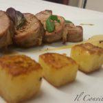 Filetto di maiale con puré di ceci e cubetti di patate